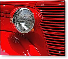 Acrylic Print featuring the photograph Headlight On Red Car by Ludwig Keck