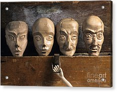 Heads Of Wooden Puppets Acrylic Print