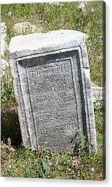 Headstone In The Basilica Church Aphrodisias Acrylic Print by Tracey Harrington-Simpson