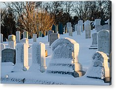 Headstones In Winter Acrylic Print