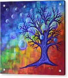Acrylic Print featuring the painting Healing Bubbles by Agata Lindquist