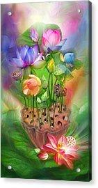 Healing Lotus - Chakras Acrylic Print by Carol Cavalaris