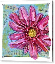 Healing Pink Zinnia Acrylic Print by Lisa Fiedler Jaworski