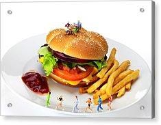 Healthy Life Versus Foodie Life Miniature Art Acrylic Print by Paul Ge