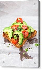 Healthy Toast With Avocado And Cherry Acrylic Print by Flavia Morlachetti