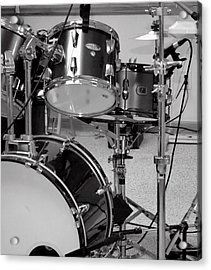 Hear The Music - A Drum Set Up For Recording Acrylic Print by Ron Grafe
