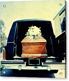 Hearse With Coffin Coming Out Of Back Acrylic Print by Walter B. McKenzie