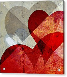 Hearts 8 Square Acrylic Print by Edward Fielding