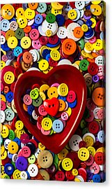 Heart Bowl With Buttons Acrylic Print by Garry Gay
