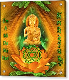 Acrylic Print featuring the digital art Heart Chakra And Mantra - Spirituality Art By Giada Rossi by Giada Rossi