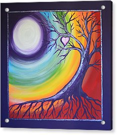 Acrylic Print featuring the painting Heart Chakra Meditation by Agata Lindquist