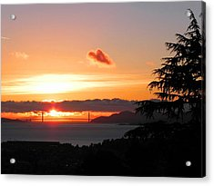 Heart Cloud Over Golden Gate Bridge Acrylic Print