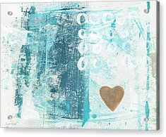 Heart In The Sand- Abstract Art Acrylic Print by Linda Woods
