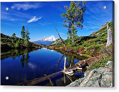Heart Lake And Mt Shasta Reflection Acrylic Print by Scott McGuire
