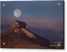 Heart Mountain And Full Moon-signed-#0325 Acrylic Print