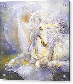 Acrylic Print featuring the mixed media Heart Of A Unicorn by Carol Cavalaris