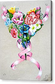 Heart Of Flowers Acrylic Print by Lacey OLeary