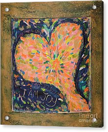 Heart On Curved Wood Acrylic Print by Kelly Athena