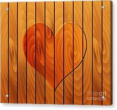 Heart On Wooden Texture Acrylic Print by Michal Boubin