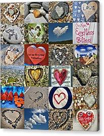 Heart Shape Collage  Acrylic Print by Daliana Pacuraru