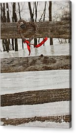 Heart-shape Wreath With Red Ribbon On Fence Acrylic Print by Sandra Cunningham