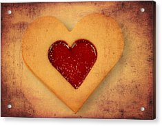 Heart Shaped Cookie With Texture Acrylic Print by Matthias Hauser