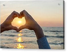 Heart Shaped Hands Framing Ocean Sunset Acrylic Print