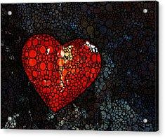 Heart - Stone Rock'd Art By Sharon Cummings Acrylic Print by Sharon Cummings