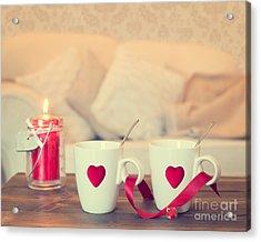 Heart Teacups Acrylic Print by Amanda Elwell
