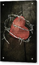Heart With Barbed Wire Acrylic Print by Joana Kruse