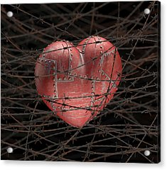 Heart With Barbed Wire Acrylic Print by Ktsdesign
