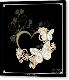 Heart With Butterflies And Flowers On Black Acrylic Print