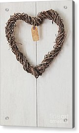 Acrylic Print featuring the photograph Heart Wreath Hanging On Wood Background by Sandra Cunningham