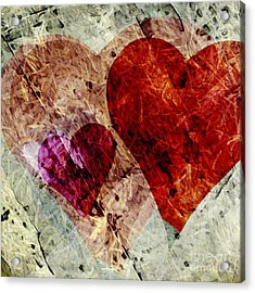 Hearts 10 Square Acrylic Print by Edward Fielding