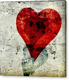Hearts 3 Square Acrylic Print by Edward Fielding