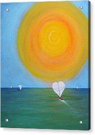 Hearts A-sail On A Hopeful Sea Acrylic Print by Eileen Lighthawk