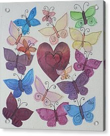 Hearts And Butterflies Acrylic Print