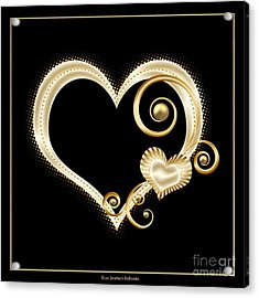 Acrylic Print featuring the digital art Hearts In Gold And Ivory On Black by Rose Santuci-Sofranko