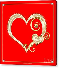 Acrylic Print featuring the digital art Hearts In Gold And Ivory On Red by Rose Santuci-Sofranko