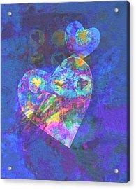 Hearts On Blue Acrylic Print by Ann Powell
