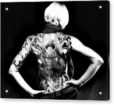 Heather The Tatooed Lady Acrylic Print by Robert  FERD Frank