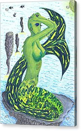 Acrylic Print featuring the drawing Heaven And The Sea. by Kenneth Clarke