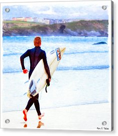 Heaven Is On A Wave - Surfer At Newquay Acrylic Print by Mark E Tisdale
