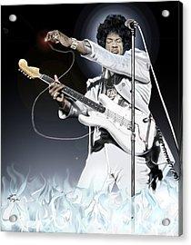 Heavens Fire - The Jimi Hendrix Series  Acrylic Print by Reggie Duffie