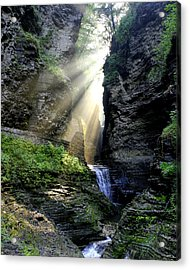 Acrylic Print featuring the photograph Heaven's Light In Watkins Glen by Gene Walls