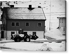 Heavy Duty Loader Carrying Grit And Stones For Winter Road Preparation Havoysund Finnmark Norway  Acrylic Print by Joe Fox
