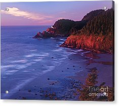 Acrylic Print featuring the photograph Heceta Head Lighthouse At Sunset Oregon Coast by Dave Welling