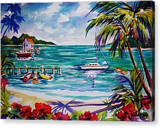Heeia Bay Pier On Oahu Acrylic Print by Therese Fowler-Bailey