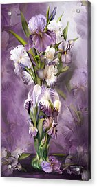 Heirloom Iris In Iris Vase Acrylic Print by Carol Cavalaris