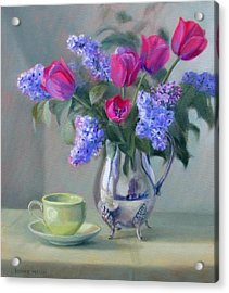 Heirlooms- Lilacs And Tulips In A Silver Pitcher Acrylic Print